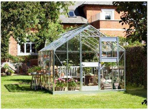 Serre de Jardin en Verre Trempé Grise avec Base 577 m²