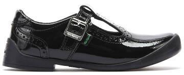KICKERS Bridie T Bar Infant Noir Cuir verni Chaussures Enfants