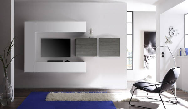 Ensemble Meuble Tv Blanc Laque Brillant Et Gris Design Oleg 2