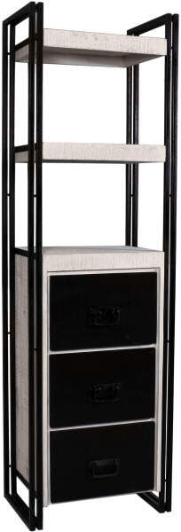 3 blanc tiroirs en et coloris industrielle et de 2 étagères Bibliothèque avec et noir aluminium bois manguier 60x200 cm PiuOTkZX