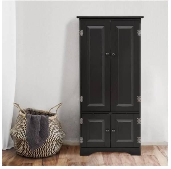 Penderie armoire de rangement bois portant barre lat/érale valet enfant W-7482A