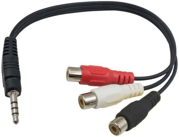 XCSSKG Lot de 2/Mini Jack 3,5/mm 15,2/cm st/ér/éo Femelle vers 2/RCA m/âle Adaptateur de Prise Audio c/âble Y