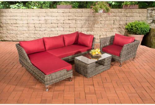 Salon de jardin Moss rond/gris métallique Rouge rubin - LORAVILLE